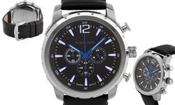 Alexander Dubois Margaux Men's Multi-Function Watch - Blue/Black/Silver
