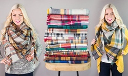 Plaid Blanket Scarf: Beige/teal/rust