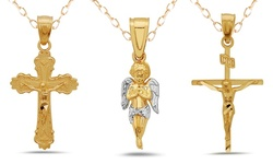 14k Solid Gold with Religious Pendants Chain - Crucifix