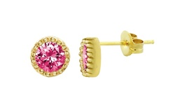 18kt Gold Over Sterling Silver Micro Pave Screwback Stud Earrings