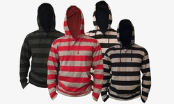 Men's Lightweight Striped Pullover Hoodie: Red/Small