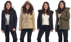 Faux Fur Hooded Jacket: Olive/small