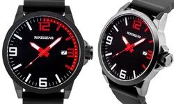 Rousseau Dufaux Men's Watch - Black Band - Black/Red Dial