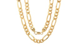 Sterling Silver 18KT Gold Plated Heavyweight Figaro Chain - Size: 22''