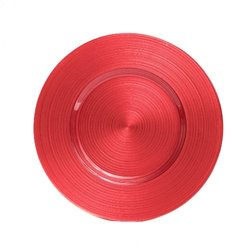 Koyal 13'' Ripple Glass Charger Plate - Pack of 4 - Coral