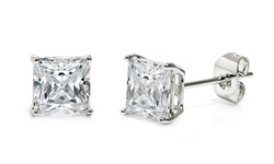 Sterling Silver Princess Cut Studs with Swarovski Elements - Silver