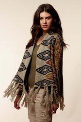 Cliche Women's Diamond Blanket Sweater - Multi - Size: M