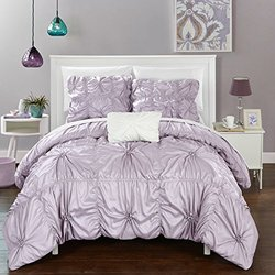 Chic Home 4 Piece Hamilton Floral Pinch Pleat Ruffled Designer Embellished Queen Duvet Cover Set Lavender