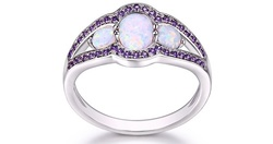 White Fire Opal Engagement Ring in Plated 18K White Gold - Size: 5