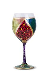 Hand Painted Wine Glass Carnival Festivity Purple 4 piece - HP5007