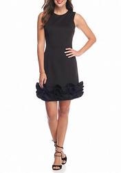MAIA Women's Sleeveless Sheath Dress/Ruffle Bottom - Black - Size: 12