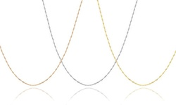 10K Solid Gold Lightweight Italian Helix Link Chain - White Gold
