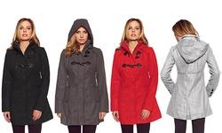 Women's Hooded Toggle Coat: Black/medium