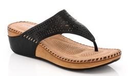 Lady Godiva Women's Comfort Wedge Sandal 2402-37 - Black - Size: 6.5