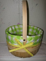Target Wooden Easter Basket with Lining - Green/Yellow