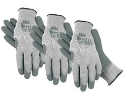 Textured Rubber Coated Knit Liner Garden Glove, 66CF, Size: Large, 3 Pair Combo Pack