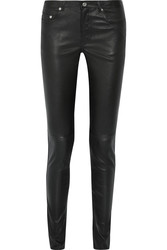 Saint Laurent Paris Women's Stretch-Leather Skinny Pants - Size: 29