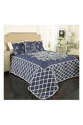 Beatrice Home Fashions Grotto Chenille Bedspread - Blue - Size: King