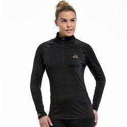 Copper Fit Women's Half-Zip Raglan Workout Top - Black - Size: 2XL