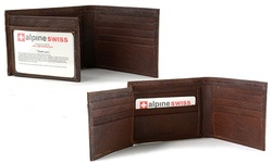Alpine Swiss Men's Leather Hybrid Bifold Wallet - Brown