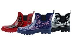 Gilbin's Women's Ankle Rain Boots: Purple Flower/8