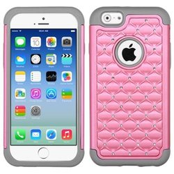 Insten Hard Dual Layer Rubber Silicone Case for iPhone 6 - Pink Gray