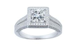 GM Swarovski Elements Women's Row Princess Halo Engagement Ring Size: 5