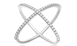 Diamond Accent X Ring in 18K White Gold Plating - Size: 7