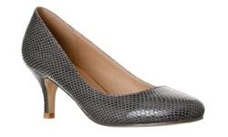 Riverberry Women's Ruby Kitten Low Heel Pumps - Grey Snake - Size: 8