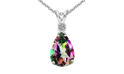 3.0CTTW Diamond and Mystic Topaz Teardrop Pendant in Sterling Silver