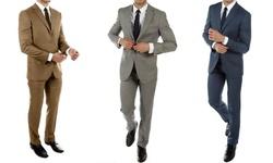 Alberto Cardinali Men's Slim Fit Sharkskin Spring Suit: Light Gray/40l-34w