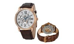 Stuhrling Original Men's Automatic Skeleton Leather Watch - Dark Brown