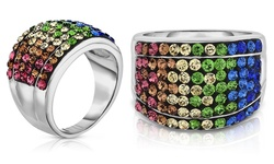 Sevil 18K White Gold Swarovski Elements Cocktail Ring - Multi - Size: 6