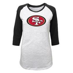 NFL Women's San Francisco 49ers 3/4 Scoop Raglan Tee - White - Size: Large