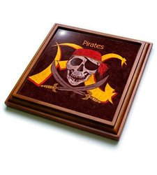 "3dRose trv_1265_1 Pirates Trivet with Ceramic Tile, 8 by 8"", Brown"