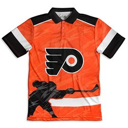 KLEW NHL Philadelphia Flyers Polyester Short Sleeve Thematic Polo Shirt, Black, Medium