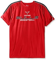 NBA Chicago Bulls Men's Short Sleeved Birdseye Crew T-Shirt with Shoulder Piecing, 4X, Red