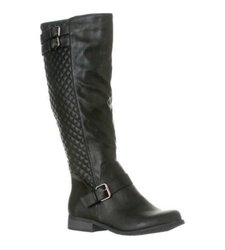 Riverberry Women's Quilted Olivia Knee-High Riding Boots - Black - Size: 8