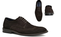 Joseph Abboud Men's Suede Ralph Oxford Shoes - Chocolate - Size:10