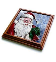"3dRose trv_120417_1 Santa Claus,Acrylic Print of The Every Jolly Elf, Santa Claus Trivet with Ceramic Tile, 8 by 8"", Brown"