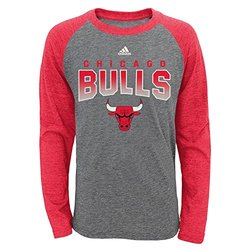 NBA Chicago Bulls Youth Boys 8-20 L/S Tri-Blend Raglan, Heather Grey, Medium (10/12)