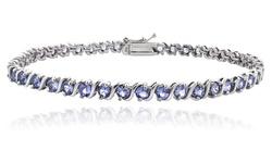 5.00ct Tanzanite S Design Sterling Silver Tennis Bracelet