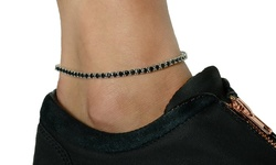 Gold Moon Women's Swarovski Elements Prong Set Anklet - Black