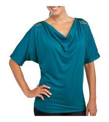 Allison Brittney Drape Front Top - Teal - Size: XL