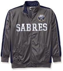 NHL Buffalo Sabres Men's Reflective Track Jacket, 6X, Charcoal/Navy