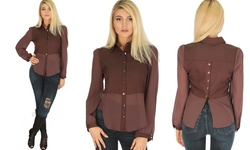 Casually Cute Women's Long Sleeve Button Up - Brown - Size: Medium