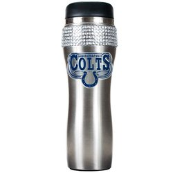 Indianapolis Colts Black Stainless Steel Bling Travel Tumbler black