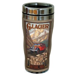 Tree-Free Greetings sg23100 Scenic Glacier National Park Bus by Paul A. Lanquist Stainless Steel Sip 'N Go Travel Tumbler, 16-Ounce, Multicolored