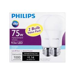 Philips 463000 75W Equivalent Daylight A19 LED Light Bulb - 2 Pack