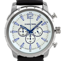 Alexander Dubois Margaux Men's Multifunction Watch - Black Genuine Leather Strap/White Dial/Blue Hands/Silver Case